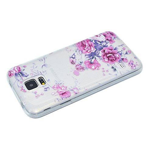 Coque Samsung Galaxy S5 Mini SV Mini SM-G800 ,BONROY® Ultra-Mince Soft Silicone Etui de Protection pour Modèle de peinture Souple Gel TPU Bumper Anti-Scratch Housse Case Cover Pour Samsung Galaxy S5 M Roses roses