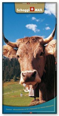 Preisvergleich Produktbild Grusskarte & Schweizer Premium Schokolade, Postkarte - Kuh
