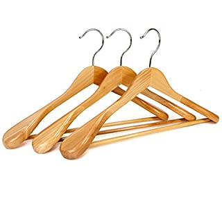 logei® 6St. Holz Kleiderbügel Holzbügel Garderobenbügel mit Hosenstange Rutschfest Natur gut Qualität (6St Kleiderbügel mit breiter Schulterauflage)