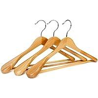 logei® 5 pieza de madera perchas perchas de madera Perchas de guardarropa con antideslizante barra de pantalones, almohadilla para el hombro de ancho, de color natural