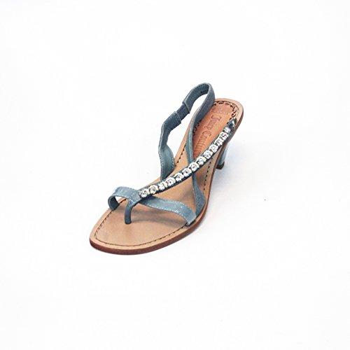 Juicy Couture Sandales à petits talons, Taille 3,5 RRP £ 135 Bleu - Corail