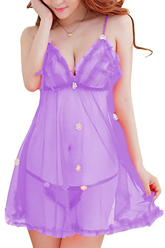 PHWOAR Babydoll Nightwear Sleepwear lingerie dress for women with Matching G-string Panty (L.Purple)  available at amazon for Rs.299