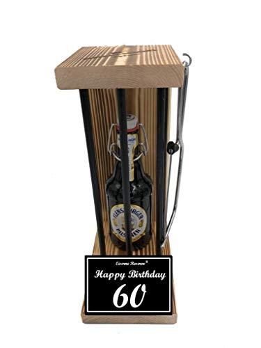 (* Happy Birthday 60 Geburtstag - Die Eiserne Reserve ® Black Edition Flensburger Pilsener 0,33L incl. Säge zum zersägen der Stäbe - Die ausgefallene lustige witzige Geschenkidee - Biergeschenk)
