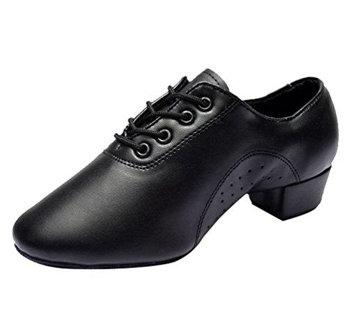 Lihaer da uomo latin jazz scarpe da ballo morbide e comode scarpe da ballo nere di cuoio per bambini per adulti