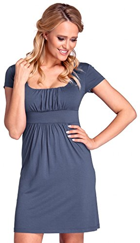 Glamour Empire. Donna. Mini vestito con pieghe scollo quadrato manica a 3/4. 081 Blu Grigio