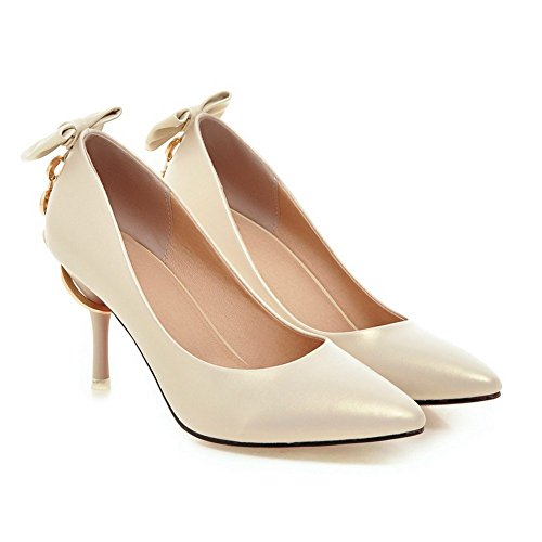 Adee Damen Bögen massiv High-Heels synthetic-and-leather Pumpen Schuhe Aprikose