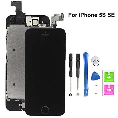 Hoonyer Für iPhone 5S/SE Display ersatzbildschirm LCD Touchscreen Display vorinstallierte frontkamera näherungssensor Reparatur kit komplette ersatzbildschirm mit Werkzeug(Schwarz)