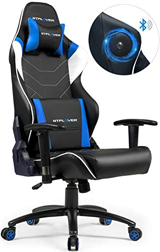 GTPLAYER Chaise Gaming de Bureau Fauteuil de Bureau Chaise Gamer Music avec Haut-Parleur Bluetooth, Design Ergonomique Bleu