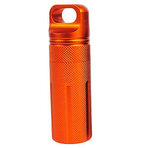 Chytaii Pillendose Wasserdichte Kapsel Tablettendose Outdoor Medikamentendose aus Aluminium für Tablett Medikamenten Orange -