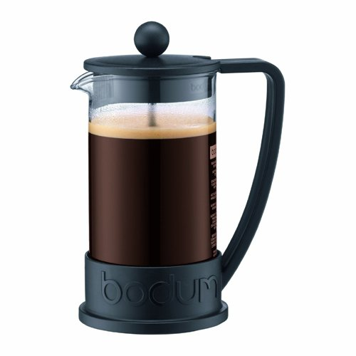 Bodum BRAZIL Kaffeebereiter (French Press System, Permanent Edelstahl-Filter, 0,35 liters) schwarz