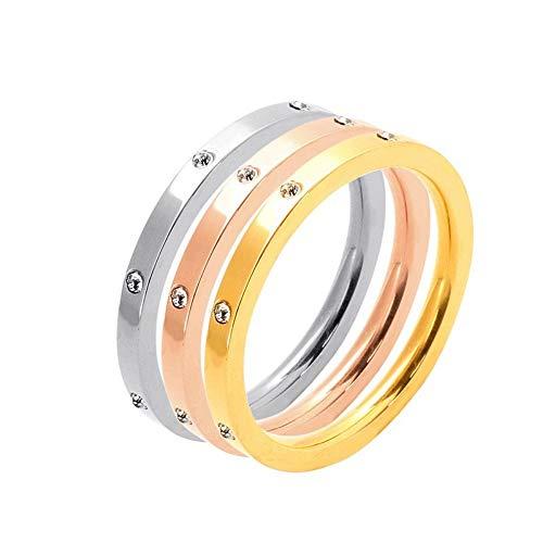 SSLL Ringe für 3 Stück/Set Damen Ehering Edelstahl Cz Ring 3Er Set Farben, 9 (Größe Cz Sets, 9 Ehering)