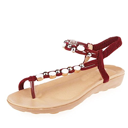 Moda Rosse Sandali Sandali Della Donna Caviglia Scarpe Bohemien Di toe Piani Svago Perline Peep Amazingdays 64Tqwv