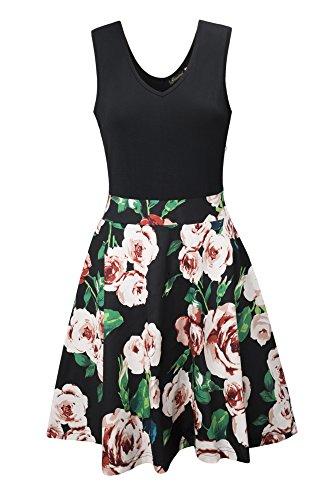 Ehpow Sommerkleid Damen V-Ausschnitt Ärmelloses Kleid Mini Floral Partykleid (Large, Schwarz)