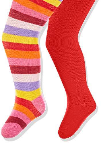 Playshoes Baby-Mädchen Ringel und Uni mit Komfortbund Strumpfhose, Rot (Original 900), Herstellergröße: 98/104 (erPack 2) -