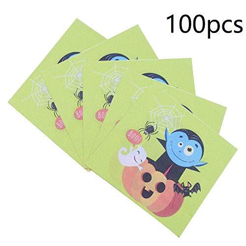 100-Pack Halloween Serviette Getränke Servietten Einweg Papierservietten Party für Halloween Theme Party Favor Supplies (Kürbis & Halloween Elf) (Supplies Party Theme Halloween)