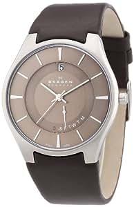 Skagen Herren-Armbanduhr XL Analog Quarz Leder 989XLSLD