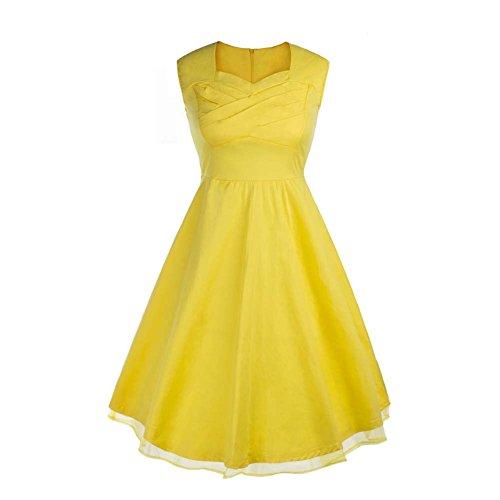 Rétro 1950 de femme Audrey Hepburn robe de soirée cocktail années Rockabilly Swing robe Jaune