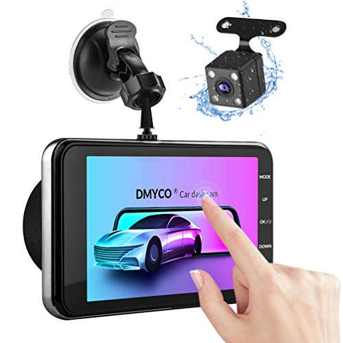 "Dual Dash Cam, 1080P Full HD Touch Screen Car Camera Front and Rear 4"" Car DVR Dashboard Camera Video Recorder with Night Vision, Motion Detection, Parking Monitoring, G-Sensor, Loop Recording"