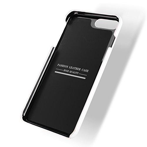 iPhone X Caso, Moda Multifunzione Guscio portafoglio zipper +Vera Pelle+Supporto Adatto per iPhone X (5.8-Pollici Rosso) Bianco