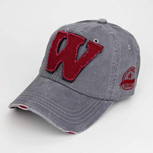 Distressed-design Baseball (GONGFF Baseball Cap Baumwolle Stickerei Buchstabe W Baseball Cap Hut Distressed tragen ausgestattet Hut für Männer Hüte Persönlichkeit Hut (Farbe: LightGray))