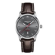 Certina Herren-Armbanduhr 40mm Armband Leder Braun Gehäuse Edelstahl Batterie Analog C024.410.16.081.10