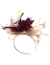 7534152cea14e Nude Salmon and Burgundy Wine Dark Red Feather Hair Fascinator Headband  Wedding Royal Ascot Races Ladies