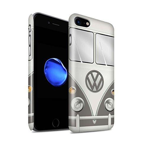 STUFF4 Glanz Snap-On Hülle / Case für Apple iPhone 8 / Fjord Blau Muster / Retro T1 Wohnmobil Bus Kollektion Maus Grau