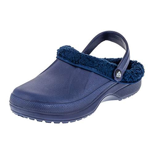 2Surf Gefütterte Herren Clogs Garten Winter Schuhe Pantoffel in vielen Farben M484bl Blau 45 EU