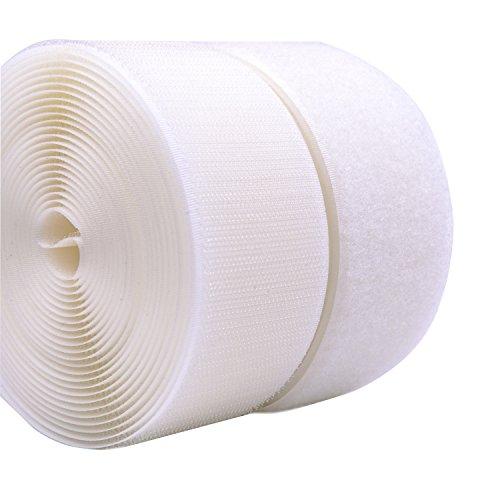 5CM Breite 5 Meter lang Klettband selbstklebend Nähen auf Haken und Schleife Streifen mit Nicht-Adhesive Backed Nylongewebe Fasten Set,weiß