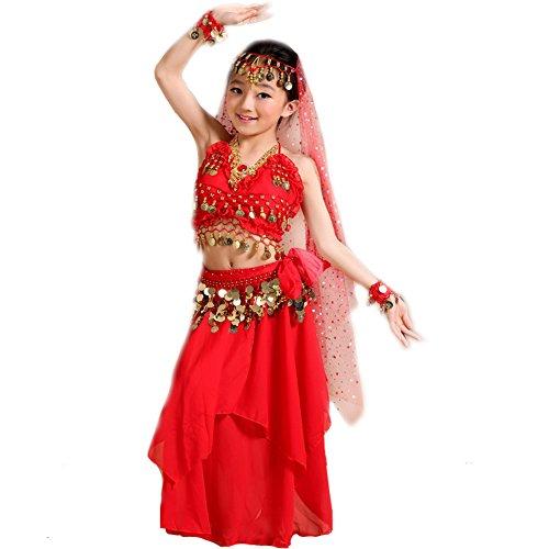 Kleid Bauchtanz Chiffon Pailletten Halloween Karneval Kostüme Komplet Rot Größe L (Bauchtanz Halloween Kostüme)