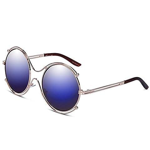 KALLEYA Sonnenbrillen Round Fashion Oval Metal Border Ladies Summer Beach Travel UV400 100% Schutz für die Fahrt , (1 Oval-türkis-armband)