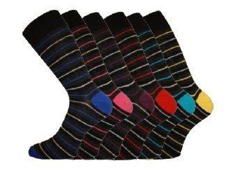 6 Pairs - Mens Pierre Calvini Multi Stripe Luxury Cotton Rich Socks