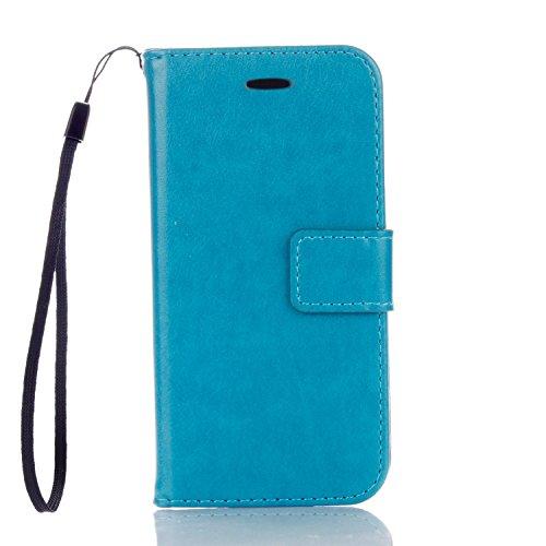 EKINHUI Case Cover Neue Art und Weise Normallack-Mappen-Kasten PU-lederner Buch-Art-Schlag-Standplatz-Fall mit Kartenschlitzen u. Lanyard u. Magnetischer Verschluss für IPhone 6 Plus u. 6s Plus ( Colo Blue