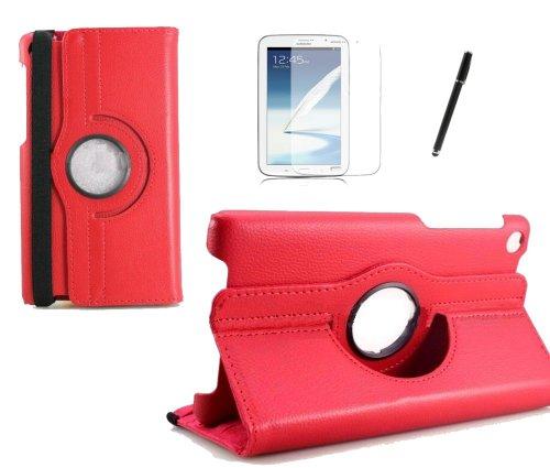 gada - Asus Google Nexus 7 (2013) 2 II PREMIUM 360° drehbare Leder-Imitat tasche mit praktischer Standfunktion in rot inkl. kostenloser Displayfolie und Touch Pen (Nexus 7 2013 Tasche Aus Echtem Leder)