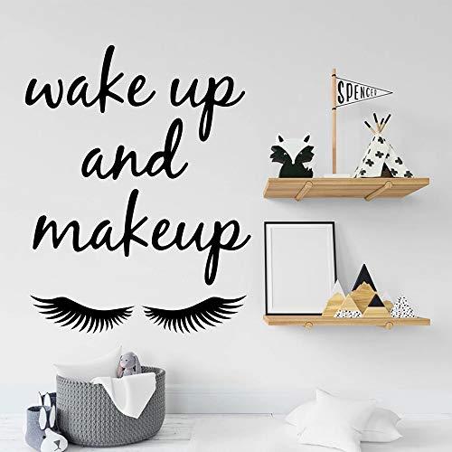 Despertador maquillaje pestañas cita etiqueta pared