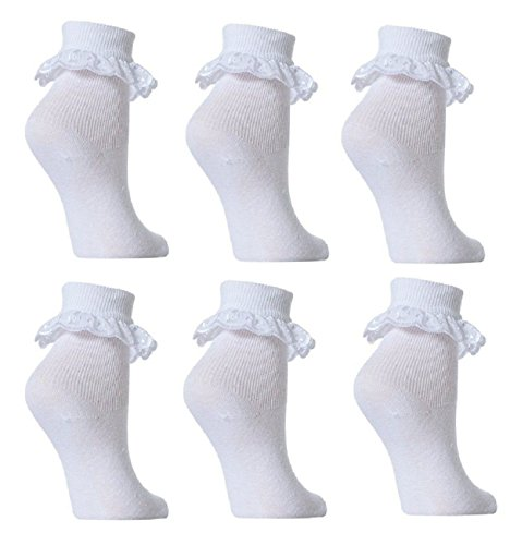 6 Pairs Girls School Plain Rich Frilly Lace Top Cotton Socks