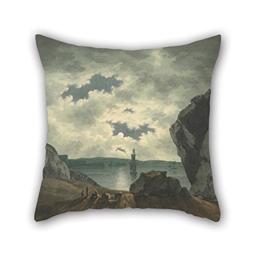 Slimmingpiggy Pillow Cases Of Oil Painting John Warwick Smith - Bay Scene In Moonlight 20 X 20 Inches / 50 By 50 Cm,best Fit For Her,couch,couples,boy Friend,bedding,car Seat Each Side