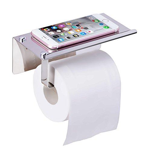 Toilettenpapierhalter zur Wandmontage, Worldwell selbstklebender Toilettenpapierhalter aus 304Edelstahl, Toilettenpapierhalter, für Badezimmer, Küche, mit Handy-Ablage, silber