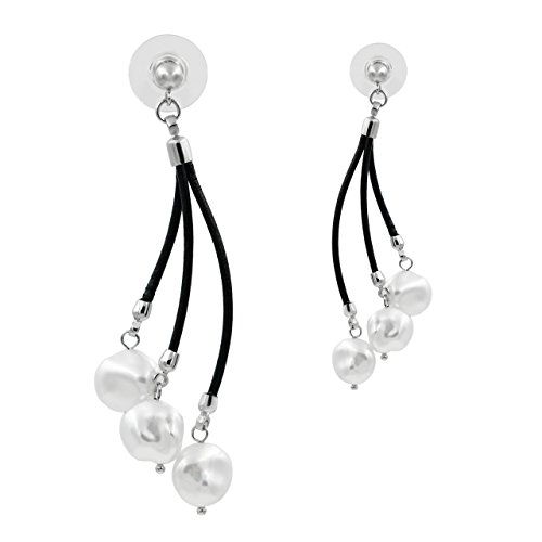 Pendientes de Mujer de Perlas Cultivadas de Agua Dulce tipo Keshi de 10,5 a 11 mm Blancas SECRET & YOU | Pendientes de Plata de Ley de 925 milésimas y Cuero Negro