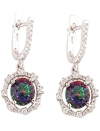 Mystic Topaz, White Cubic Zirconia Silver Hoop Earring With 925 Silver Purity Searl