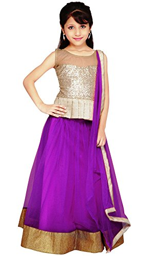 Kid's Clothing Lehenga choli Designer Party Wear Today Offer Low Price Sale Purple Color Net Fabric Silk Inner Free Size Girls Ghagra Choli  available at amazon for Rs.219