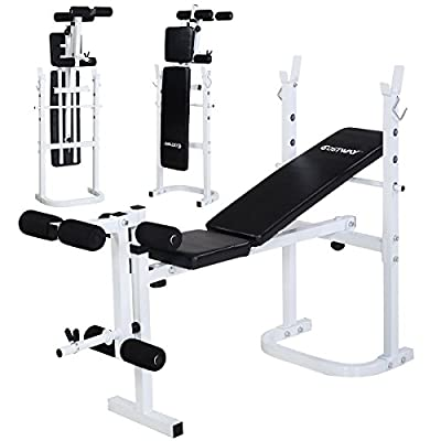 GYMAX Folding Weight Training Bench Multi Gym Fitness Dumbbell Workout Incline Abs Bar Exercise from GYMAX