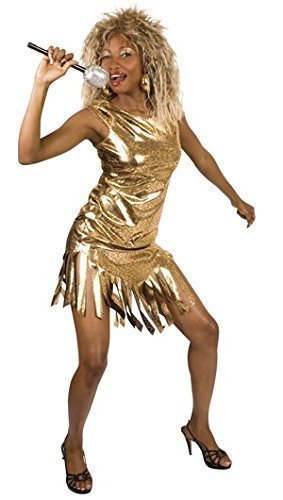 Tina Turner Kostüm - Damen Pop Star berühmt Promi Gold Tina Turner 1980s Jahre Kostüm Kleid Outfit