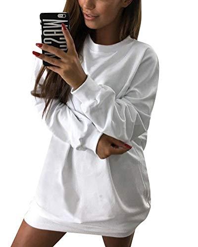 Minetom Damen Langarm Sweatshirt Herbst Winter Lange Pullover Einfarbig Pulli Sexy Oversize Tunika Mini Kleid Casual Lose Rundhals Tops Weiß DE 36 -