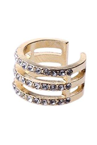 Anillo - SODIAL(R)Moda mujer- Anillo del dedo Anillo de nudillo de multicapa Anillo de dedo de los tobillos Regalo Anillo de mujer (Diamante de imitacion de 3-capa dorada)
