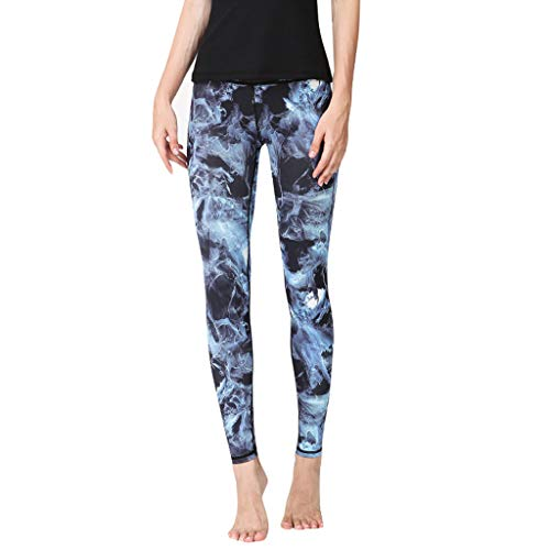 QIMANZI Damen Mode Gedruckt Hohe Taille Hüft-Stretch LaufenFitness Yoga-Hose Sport Leggings 3/4 Yoga Hose Jogginghose Workout Fitness Caprihose Printed (A Blau,XL) (Männer-unterwäsche Animal-print)