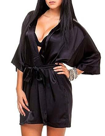 24brands Damen Kimono Morgenmantel Satin-look Negligee Hausmantel Nachtwäsche Seidenrobe kurz in S-XL - 1674, Größe:S;Farbe:Schwarz