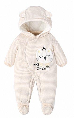neugeboren baby winter strampler mit Fußen schlafsack baby born schlafanzug Baumwolle Overalls 2.5 tog. mit Kapuze.Katze. (S:56/62CM(3-4Monate), Weiß Katze)