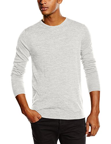 SELECTED HOMME Herren Pullover Shdtower Merino Crew Neck Noos, Einfarbig Grau (Light Grey Melange)