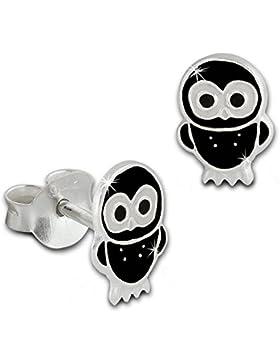 Tee-Wee Kinder Ohrring Käuzchen schwarz 925 Sterling Silber Kinderohrstecker Kinderschmuck SDO8100S